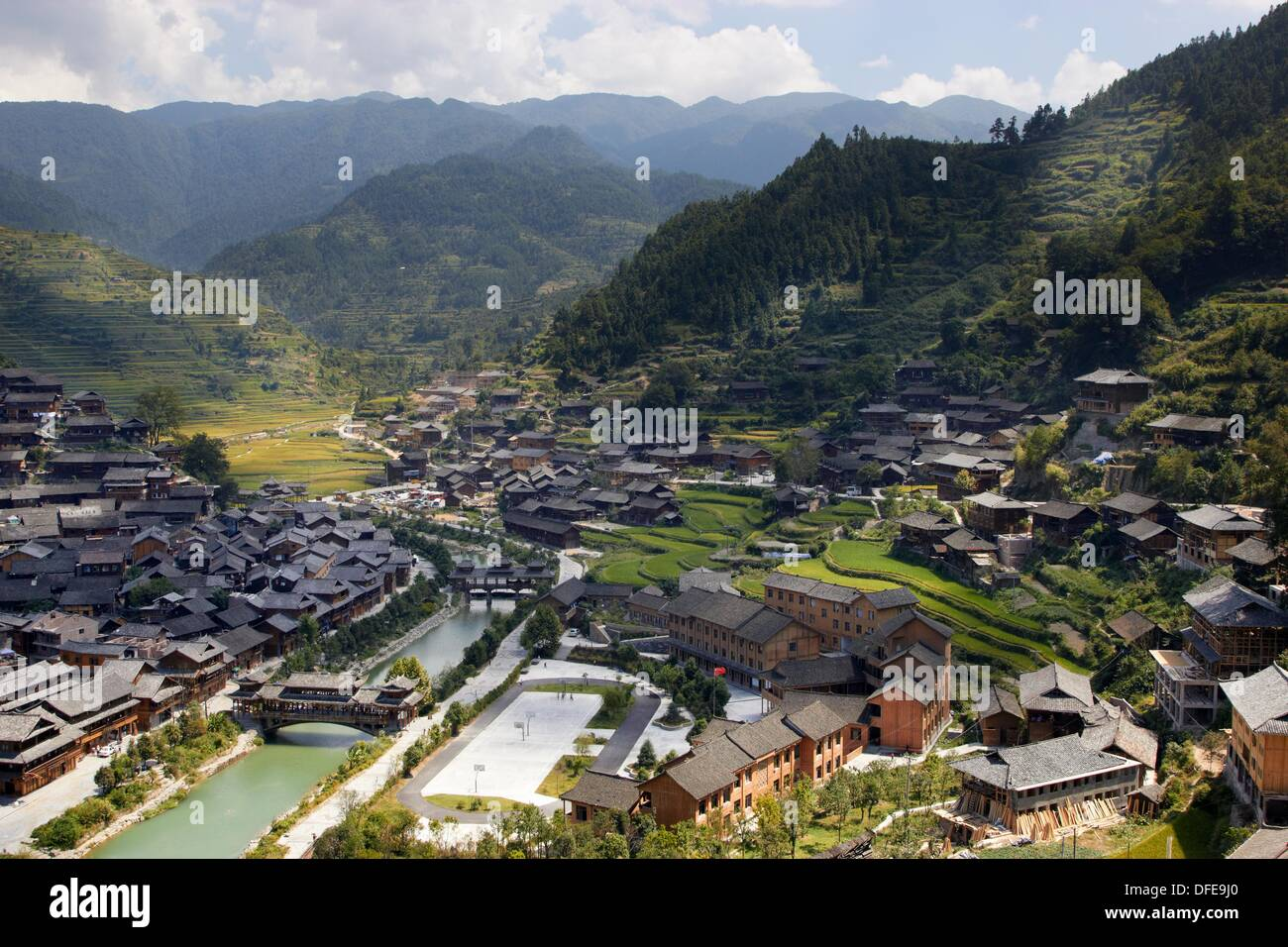 Xijiang village, Xijiang, Guizhou, China Stock Photo