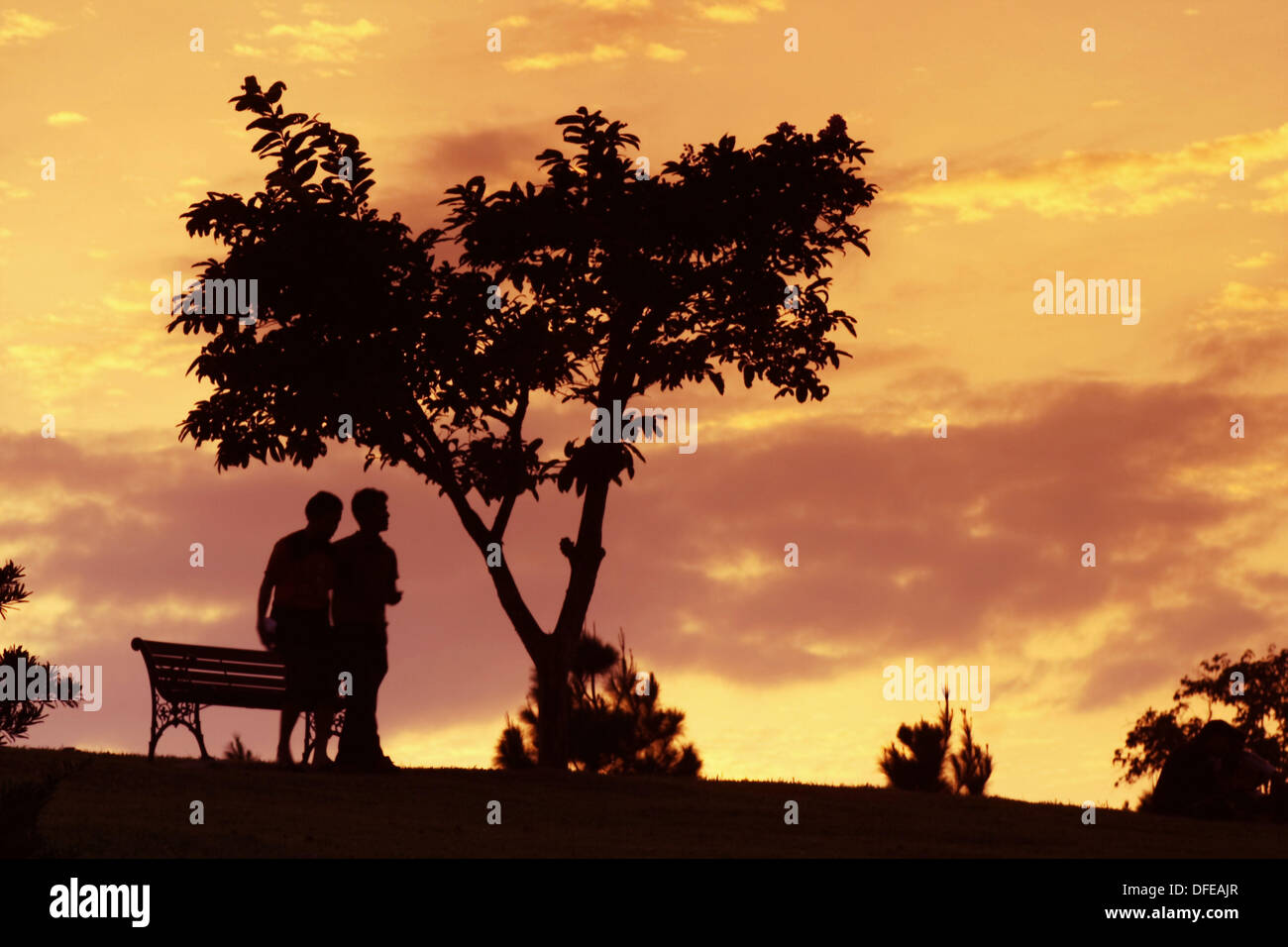 2 persons walking in sunset - Stock Image