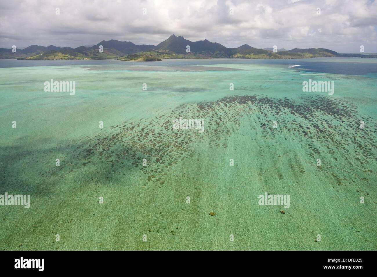 Isla Mauricio  Mauritius  Mauricio desde el aire, vuelo en helicoptero sobre la Isla - Stock Image