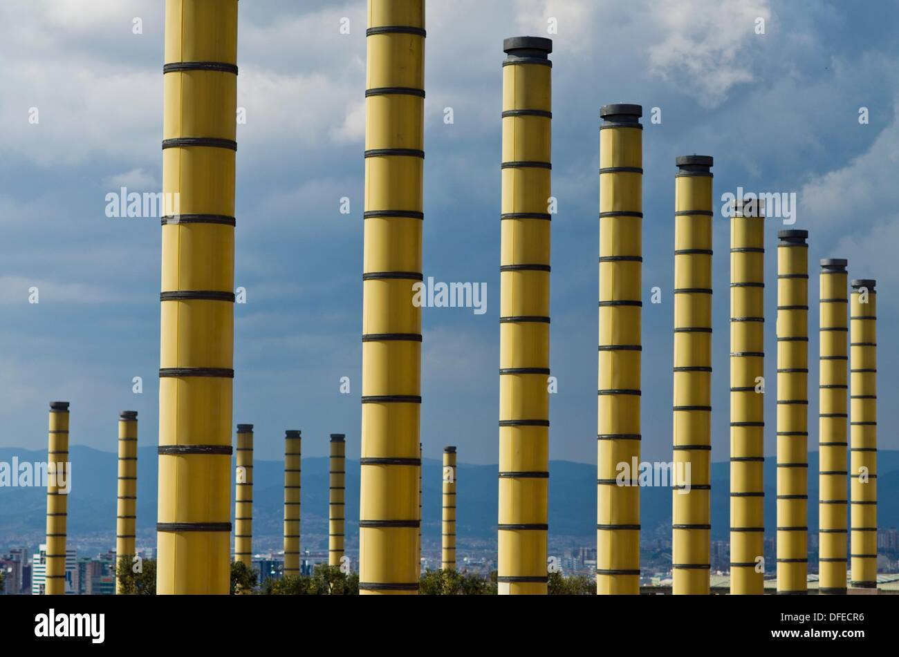 Mont Juic park  Barcelona  Catalonia  Spain - Stock Image