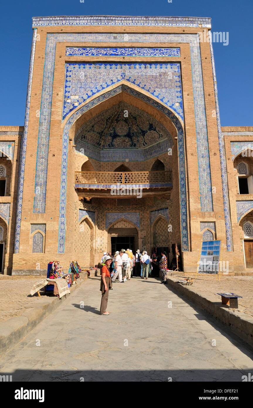 Muhammad Rakhim Chan Madrassah, Ichan Kala, historic adobe oldtown of Khiva, Chiva, Silk Road, Unesco World Heritage Stock Photo