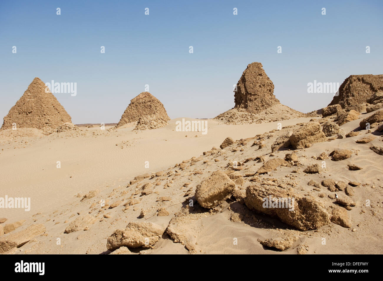 Pyramids of Nuri. Kingdom of Meroe. Sudan. Africa. Stock Photo