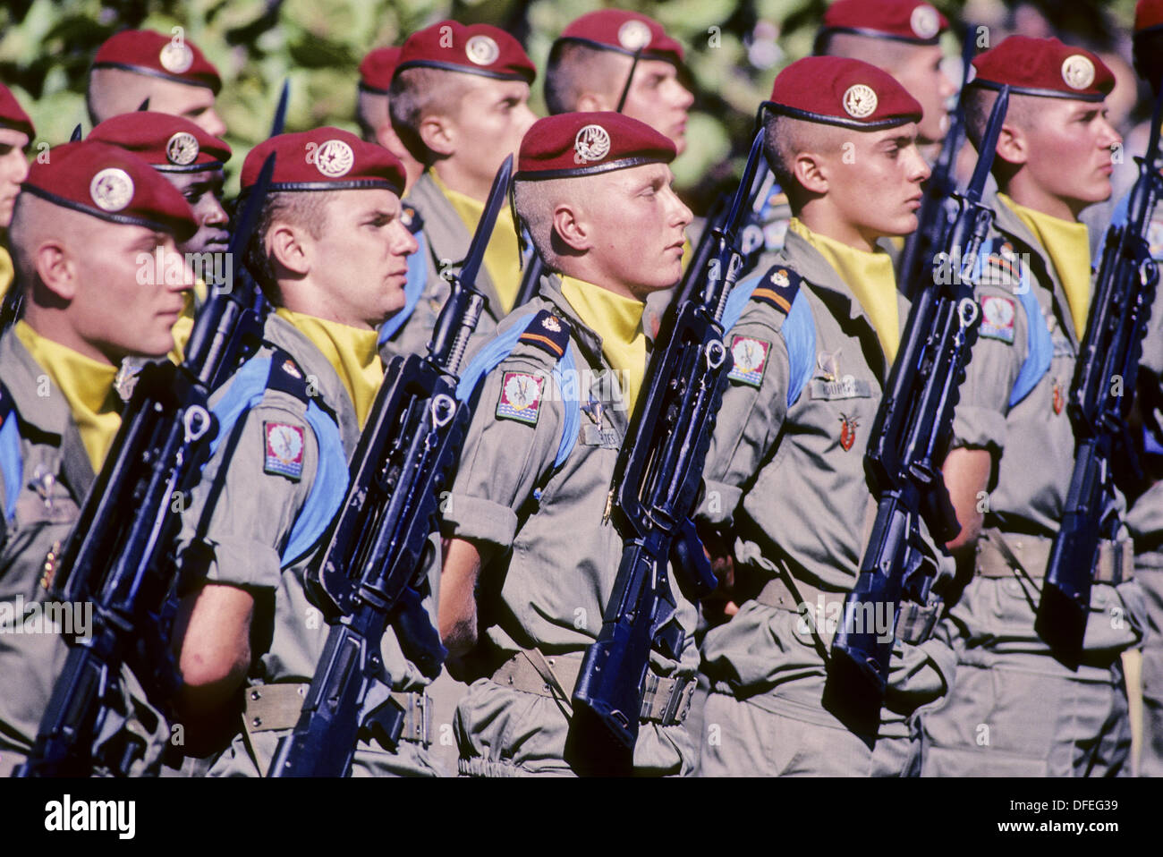 The Fourteenth of July military parade. City of Saint Denis (capital). Reunion Island. Indian ocean. France. - Stock Image