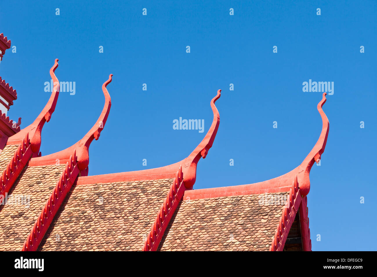 Detail of the multi tiered roof of the national museum building in Phnom Penh, Cambodia - Stock Image
