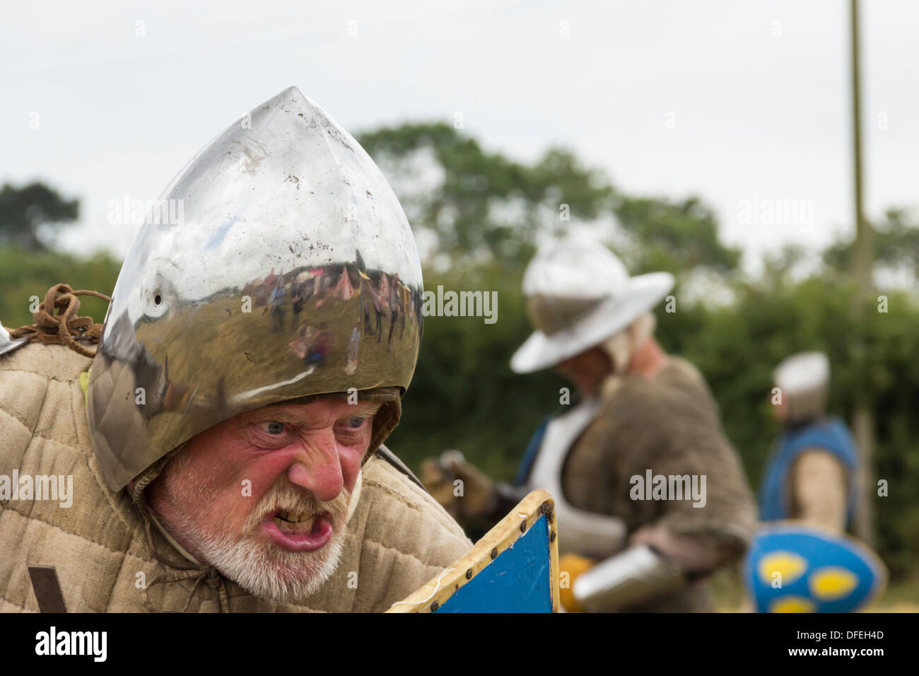 The Shrewsbury Levy medieval reenactment group at Battlefield1403 visitor centre marking the anniversary of Battle - Stock Image