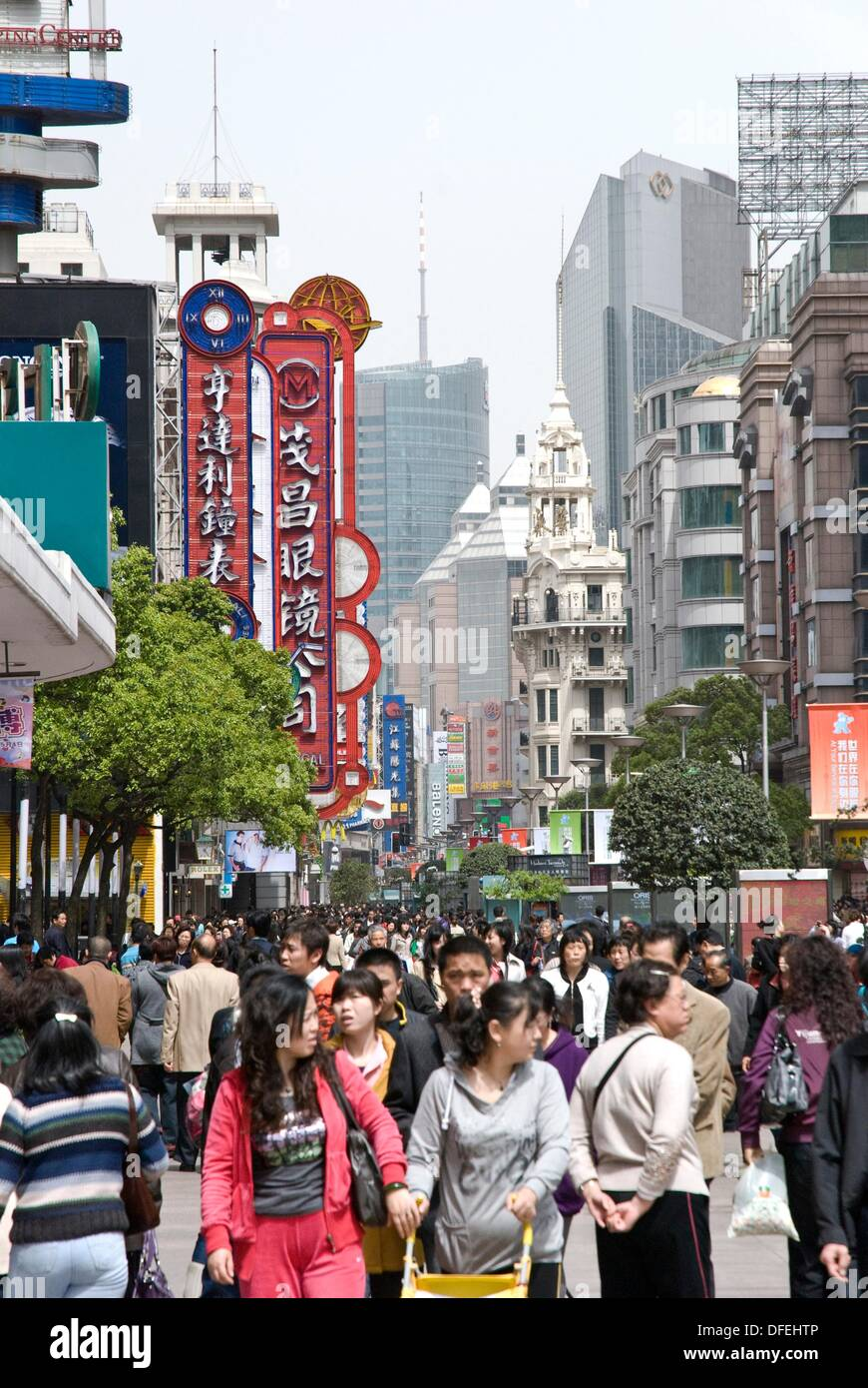 Shanghai China prosperous business district to nanjing road - Stock Image