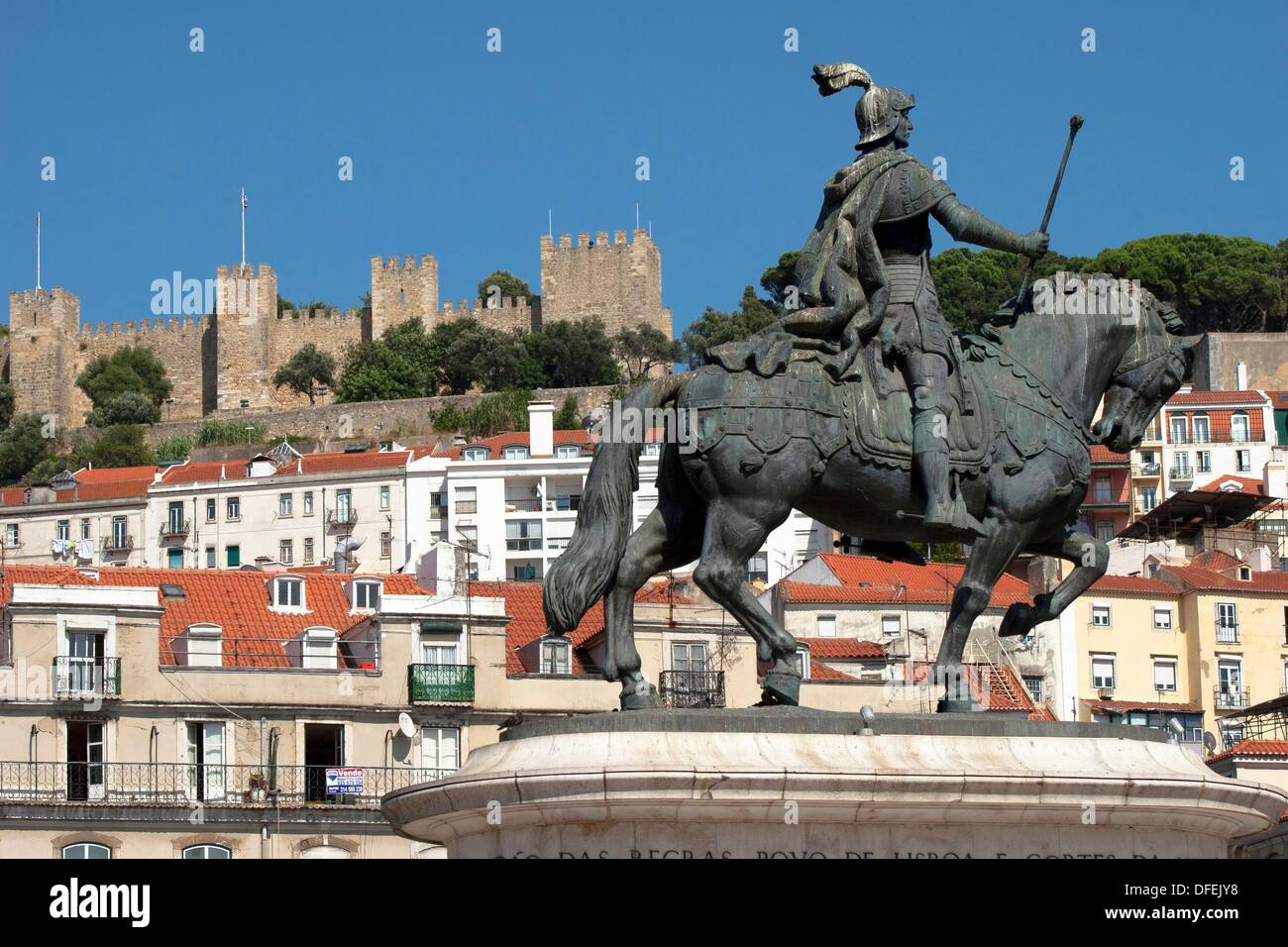 Equestre Statue in Figueira Square and St  George´s Castle, Lisbon, Portugal - Stock Image