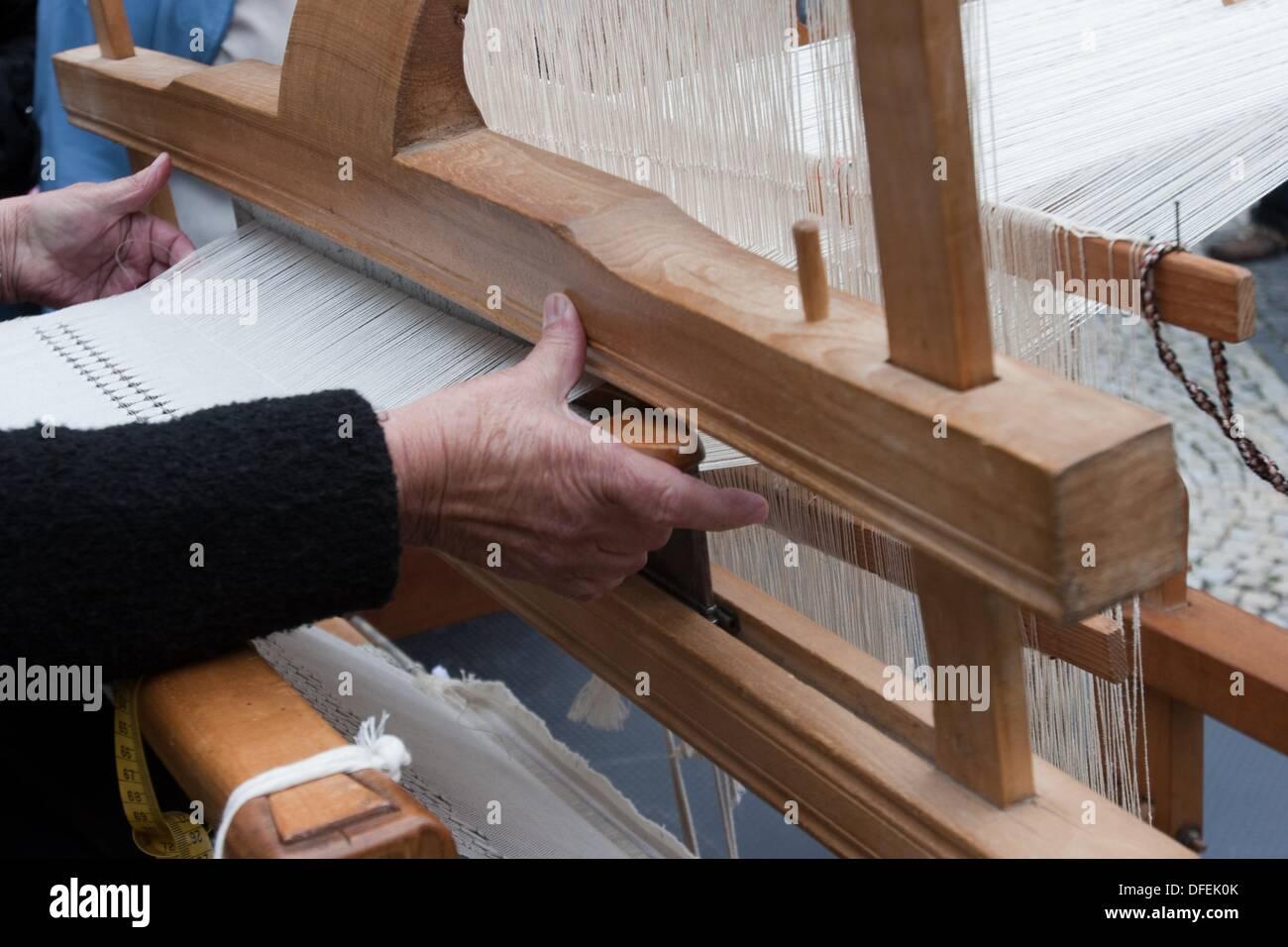 Woman weaving, Loom, Bratislava, Slovakia Stock Photo