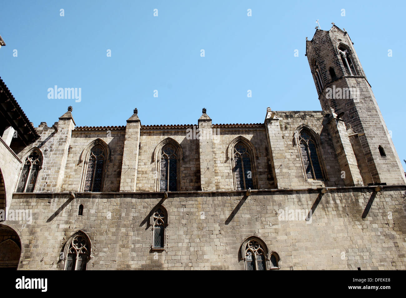 Royal chapel of Santa Àgata, Plaça del Rei, Gothic quarter, Barcelona, Spain - Stock Image