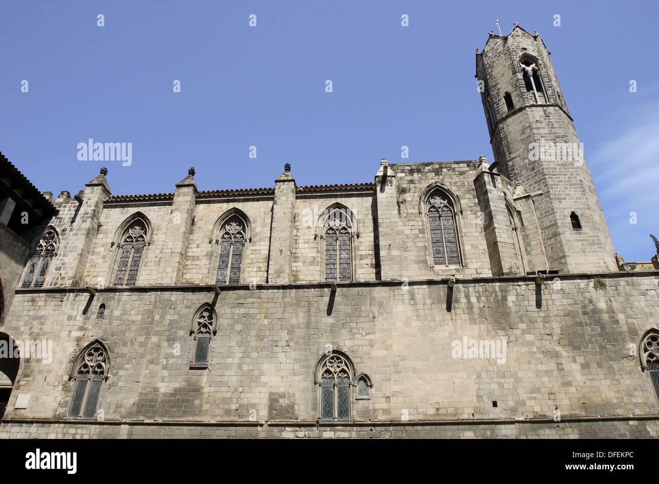 Royal chapel of Santa Àgata, Plaça del Rei, Gothic quarter, Barcelona. Catalonia, Spain - Stock Image