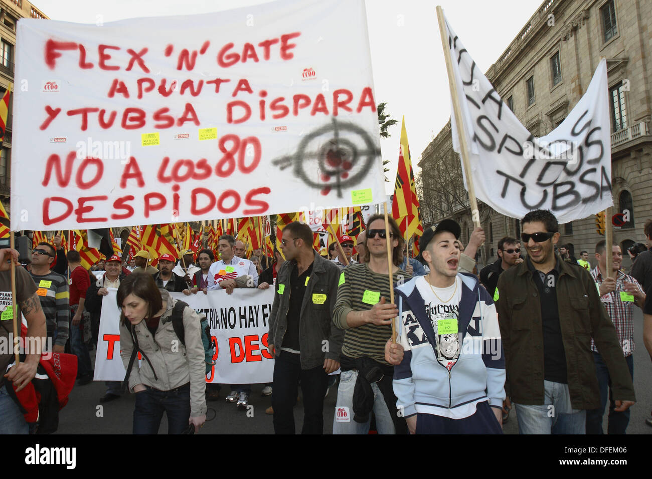 March against the economic crisis on March 14th, 2009. Barcelona, Catalonia, Spain - Stock Image