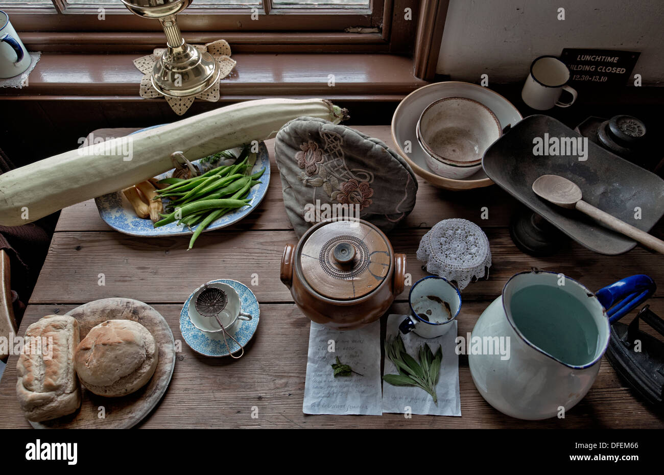 Table layout featuring traditional 1800's/early 1900's food and