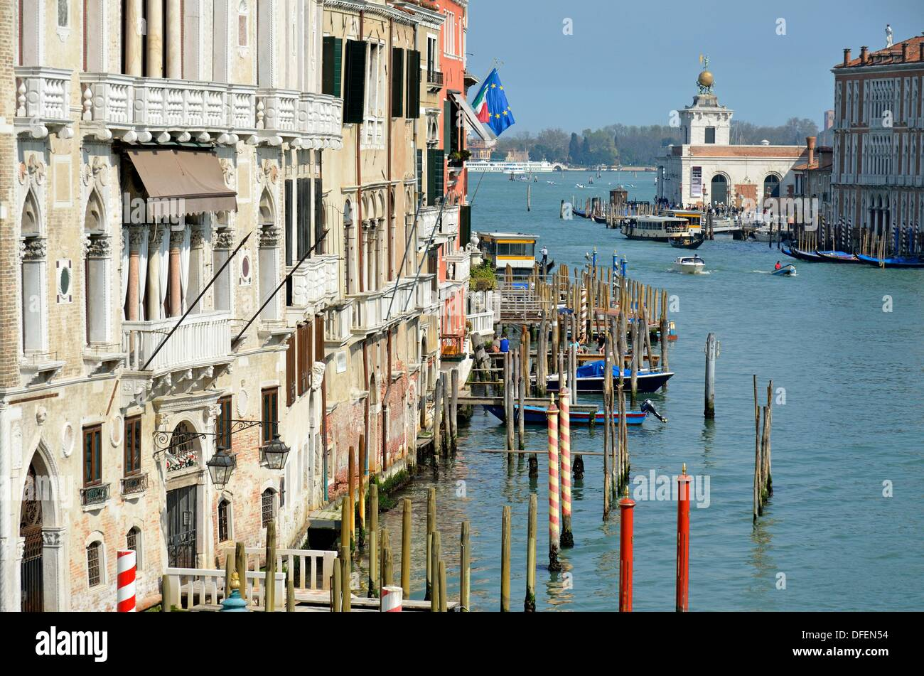 Grand Canal view from Academia Bridge, Venice, Italy - Stock Image