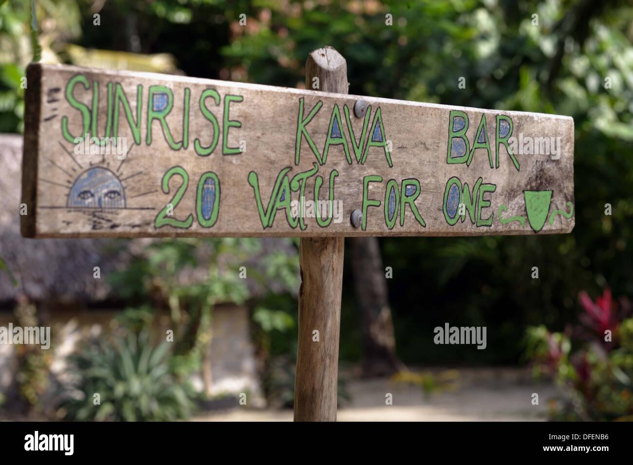 Roadside sign for a Kava bar, Vanua Lava, Banks, Vanuatu, Melanesia, South Pacific - Stock Image