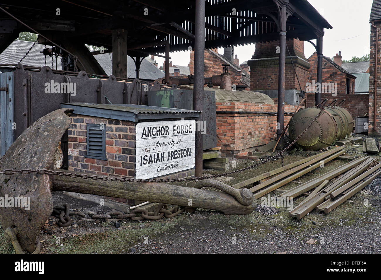 Workshop, foundry forge and yard at the Black Country Living Museum Dudley West Midlands England. Stock Photo