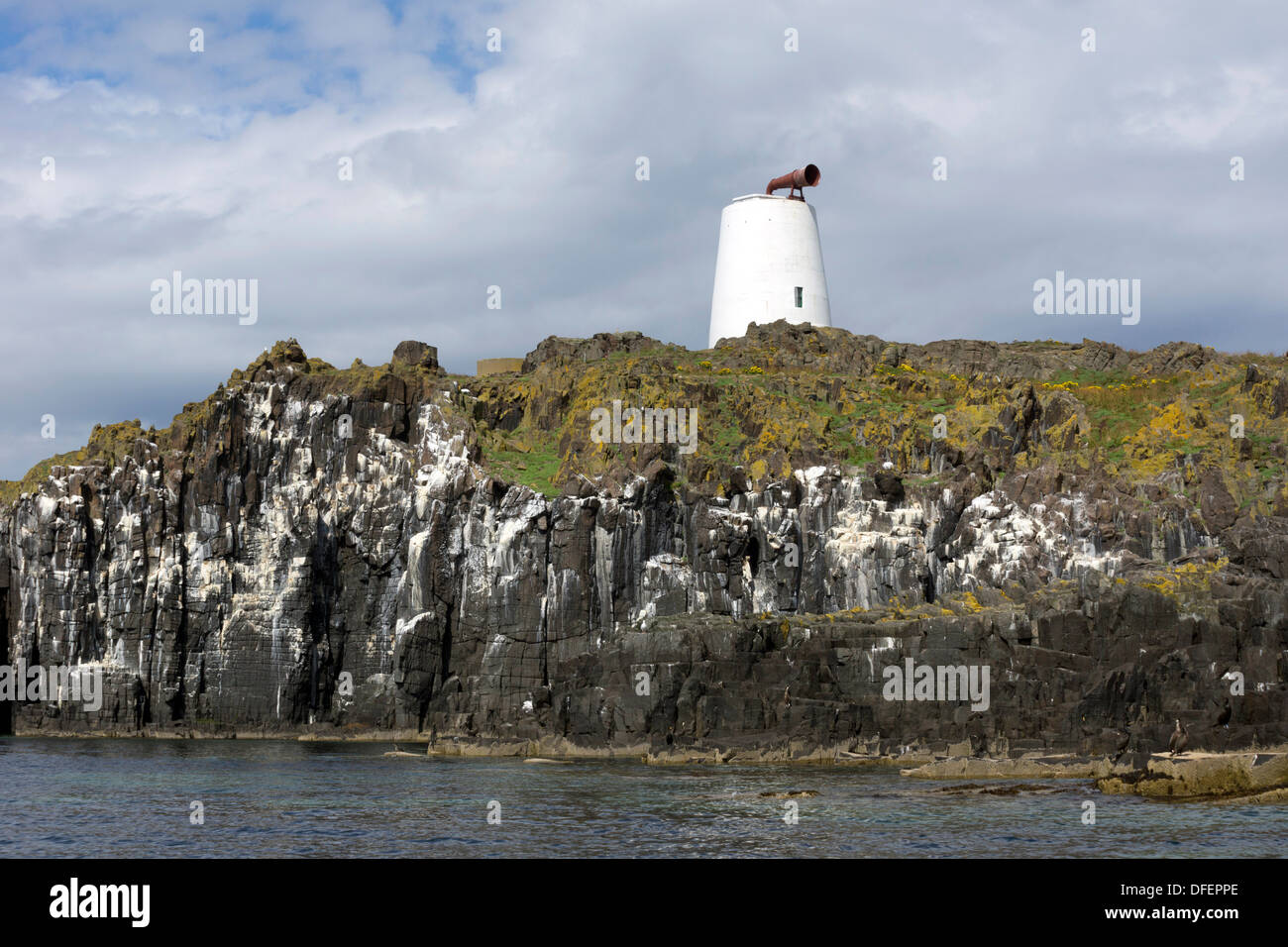 Fog horn on the Isle of May in the Firth of Forth, Scotland - Stock Image