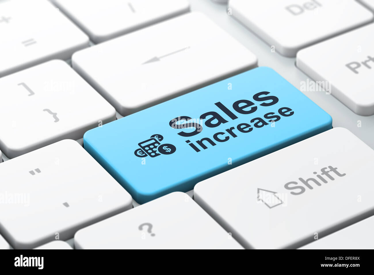 advertising concept calculator and sales increase on computer k