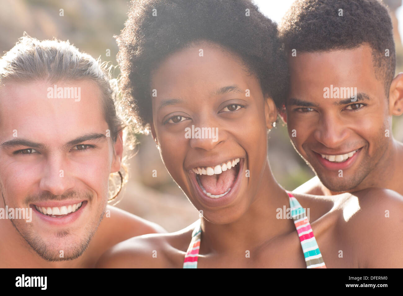 Portrait of smiling friends - Stock Image