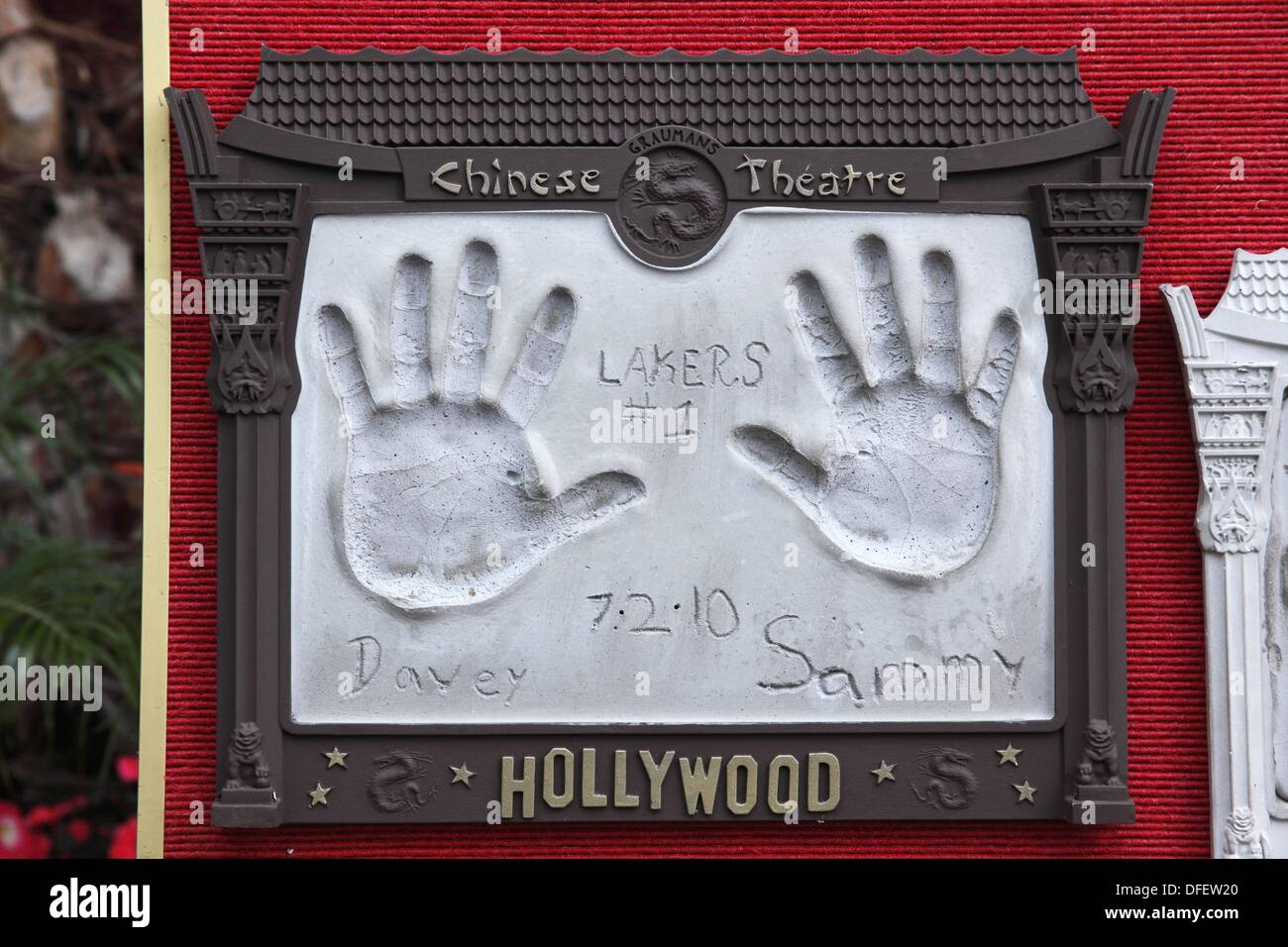 Hands of artistes in the Walk of Fame, Hollywood, CA, USA - Stock Image