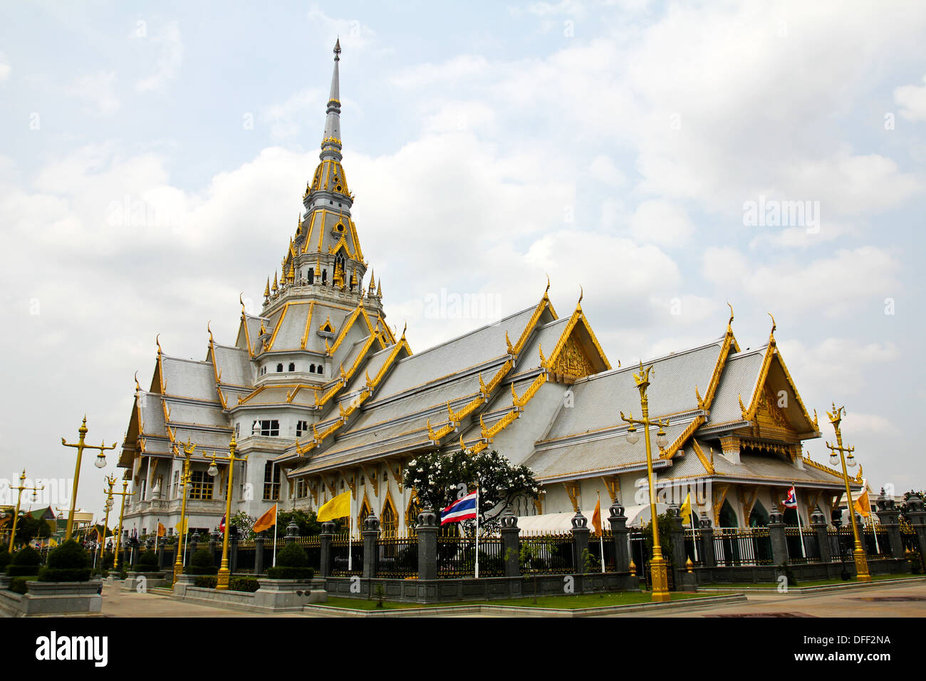 A great marble church, Wat Sothorn, Chachoengsao Thailand - Stock Image