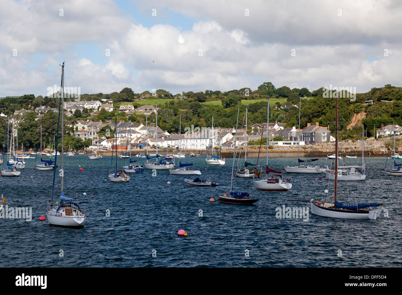 View from Falmouth across Carrick Roads, Flushing, Cornwall - Stock Image