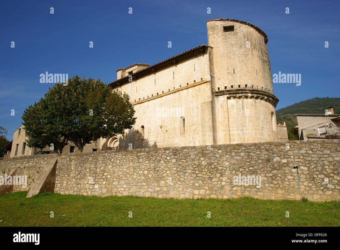 Romanesque church of Sant Llorenç, XI century Oix Garrotxa Girona Catalunya Spain. - Stock Image