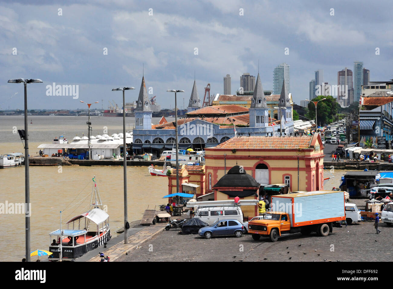 View from Forte do Presépio on old Town Center and the famous market Ver-o-Peso, Belém, Pará, Brazil. - Stock Image
