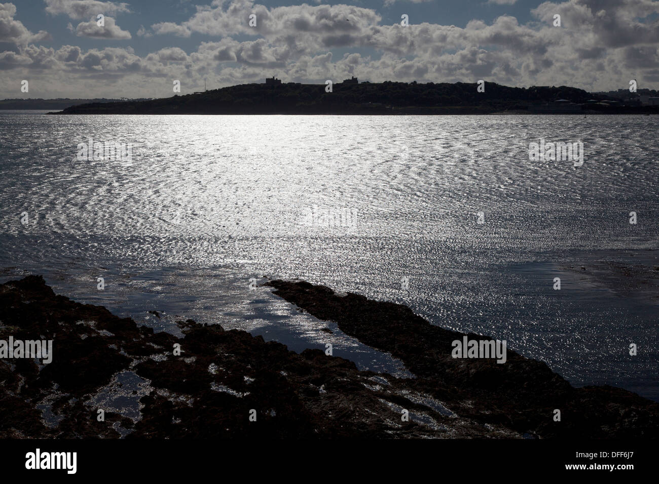 View from the castle across Carrick Roads towards Pendennis Castle, St Mawes, Cornwall - Stock Image
