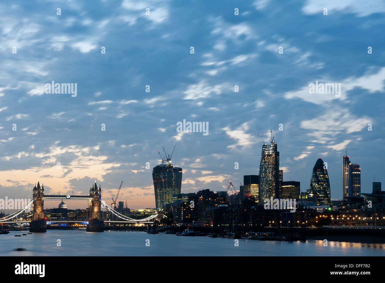 New London Skyline 2013 with Tower Bridge and skyscrapers of The City, 20 Fenchurch Street (L), 122 Leadenhall St and Gherkin. - Stock Image