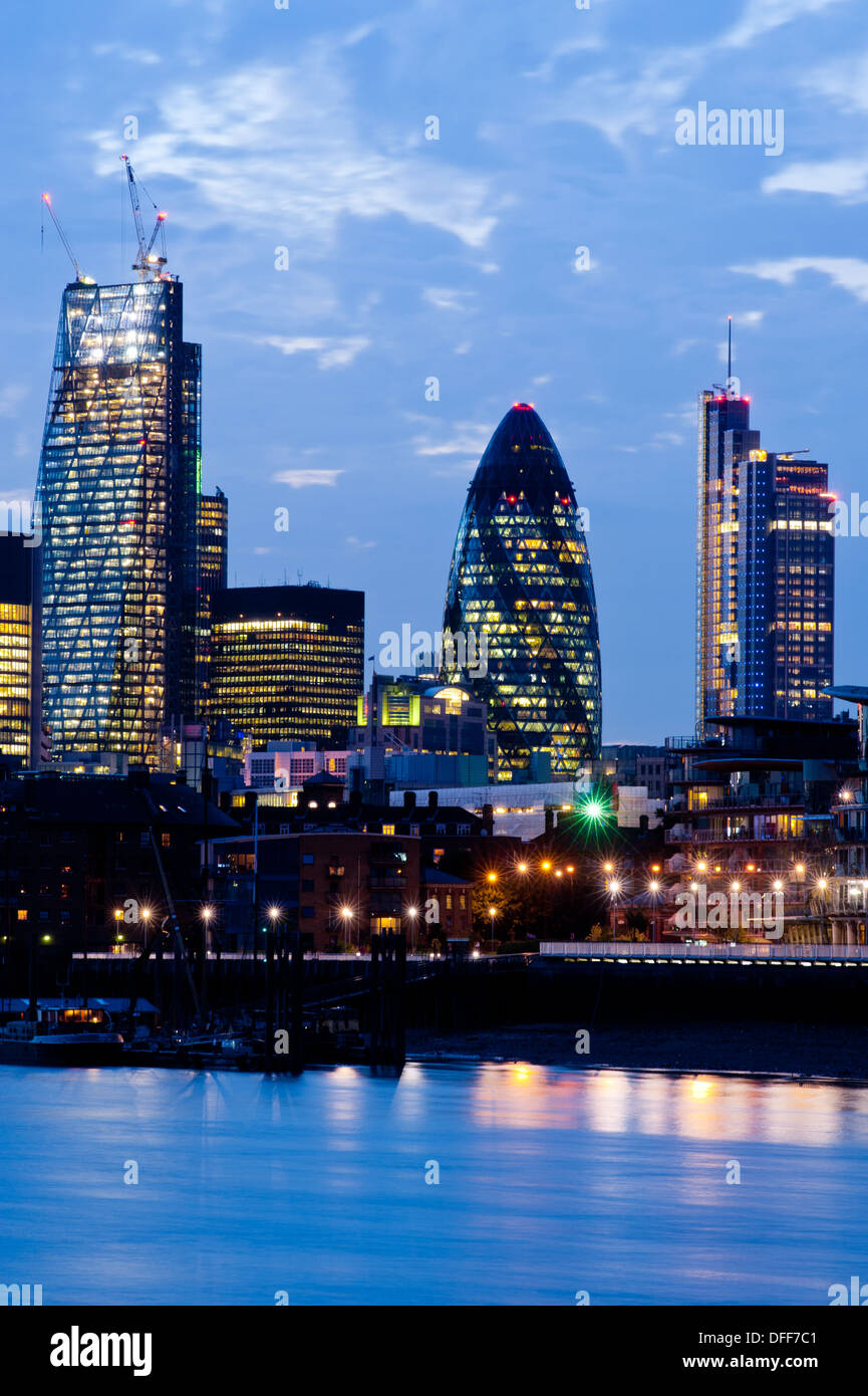New London Skyline 2013 with skyscrapers of The City including 122 Leadenhall Street The Cheesegrater (L) and 30 St Mary Axe The - Stock Image