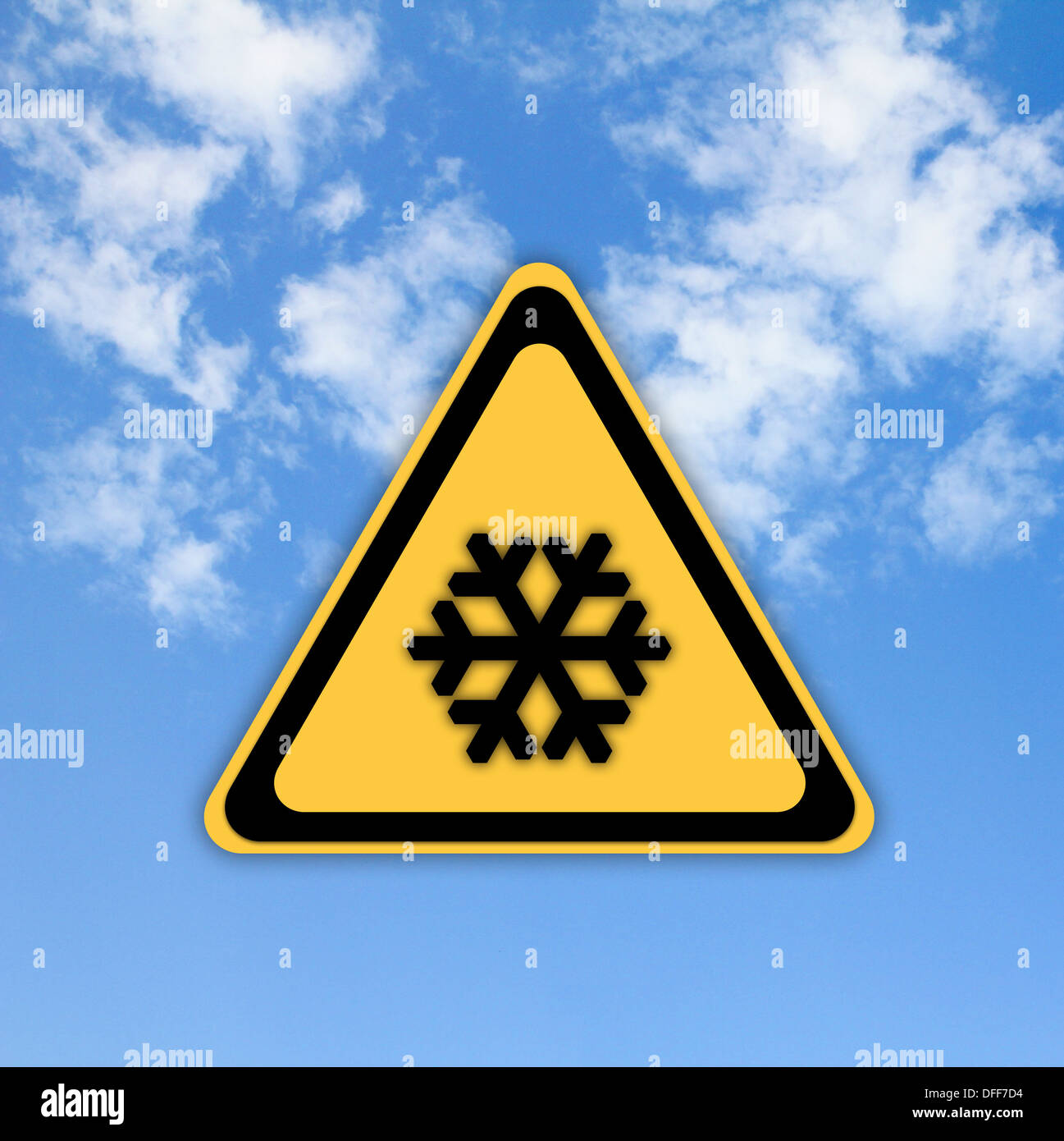 Snow warning sign on beautiful sky background. - Stock Image