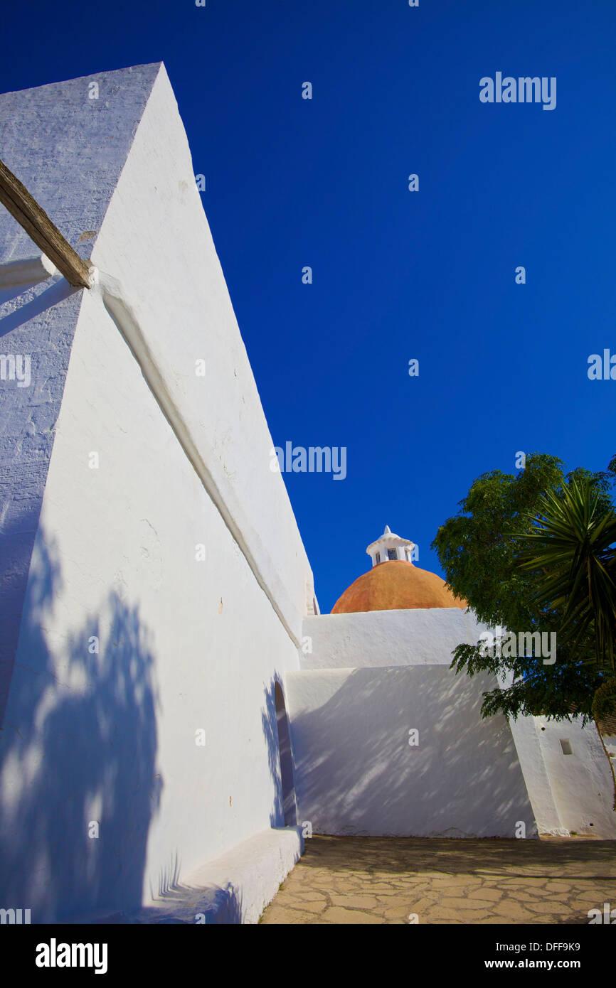 16th Century Church, Puig de Missa, Santa Eularia des Riu, Ibiza, Balearic Islands, Spain - Stock Image