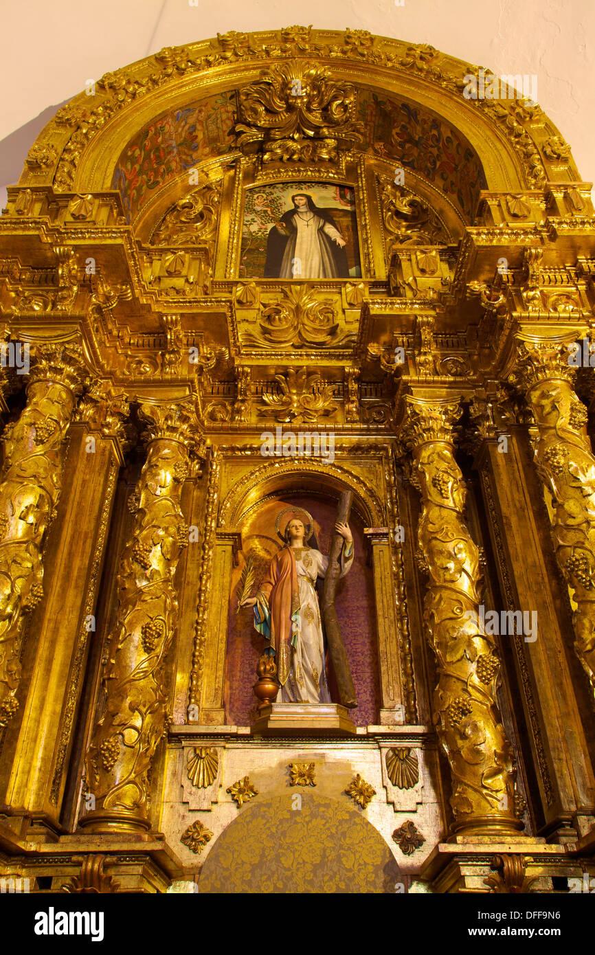 16th Century Church Interior, Puig De Missa, Ibiza, Spain - Stock Image