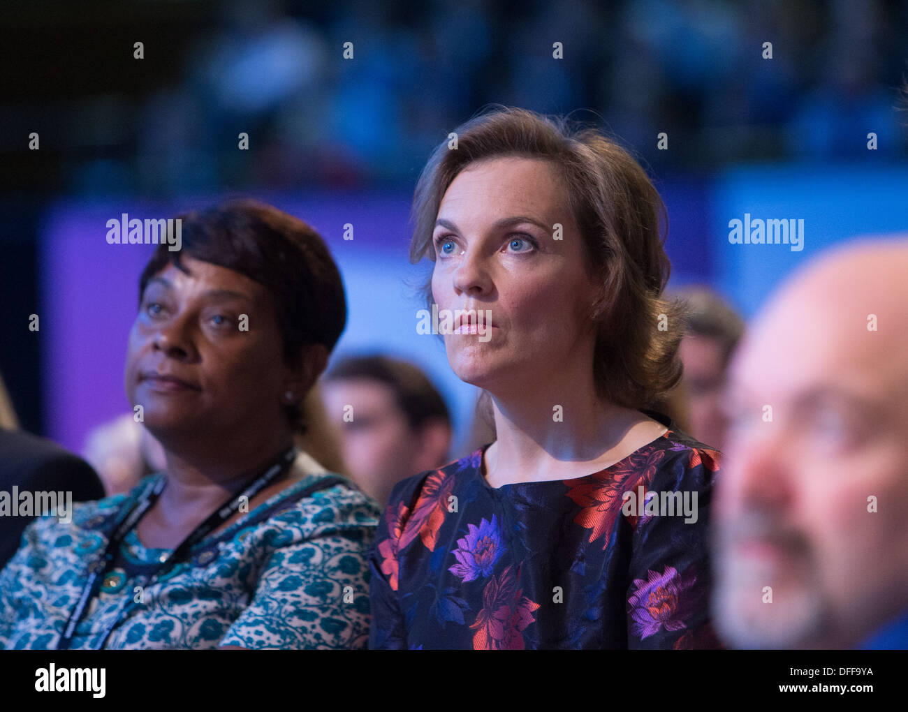 Justine Thornton,wife of Ed Miliband, at the Labour party conference in Brighton listening to her husband's speech - Stock Image