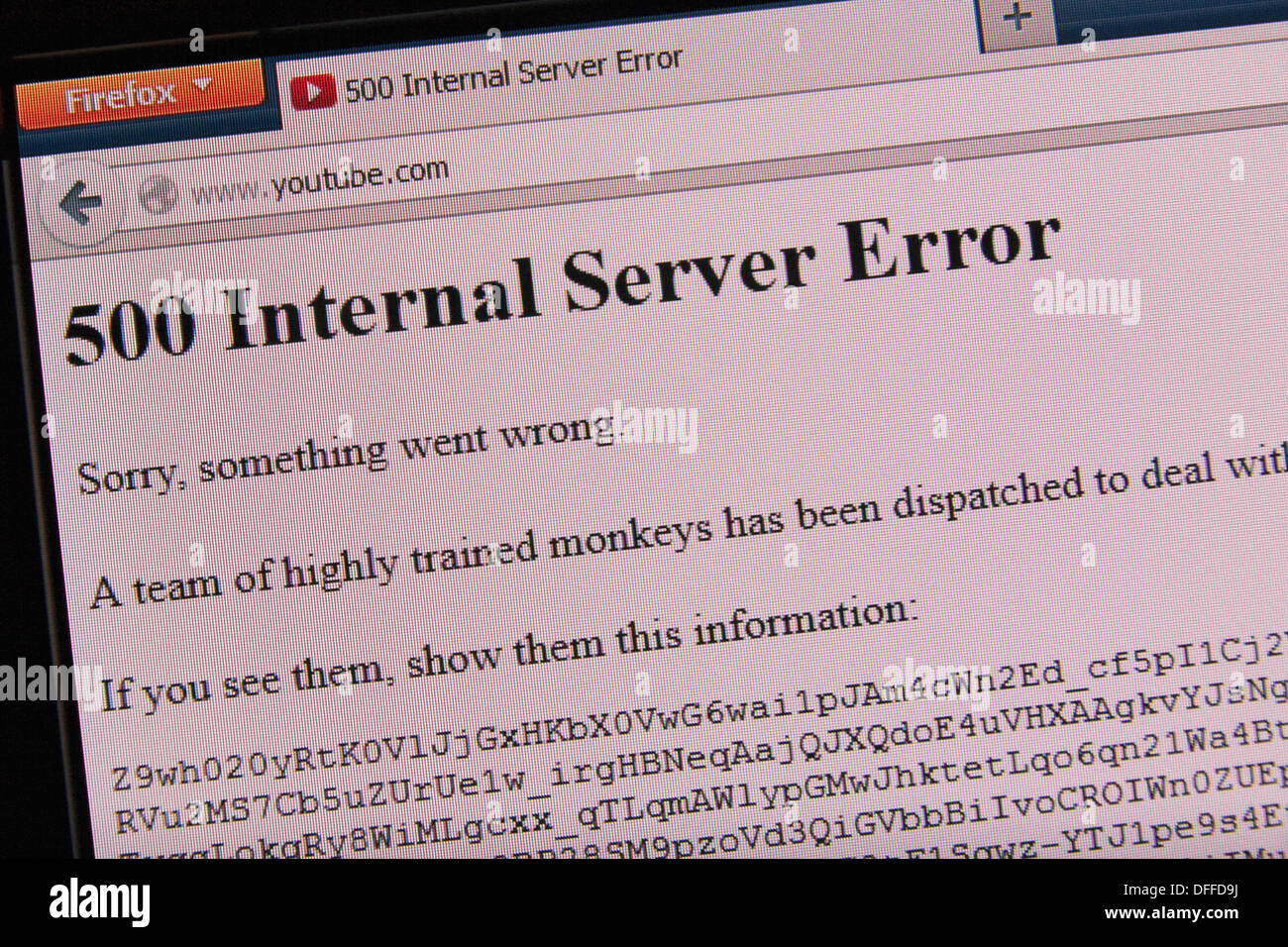 """The """"team of highly trained monkeys"""" server error screen when you cannot connect to YouTube.com. Stock Photo"""