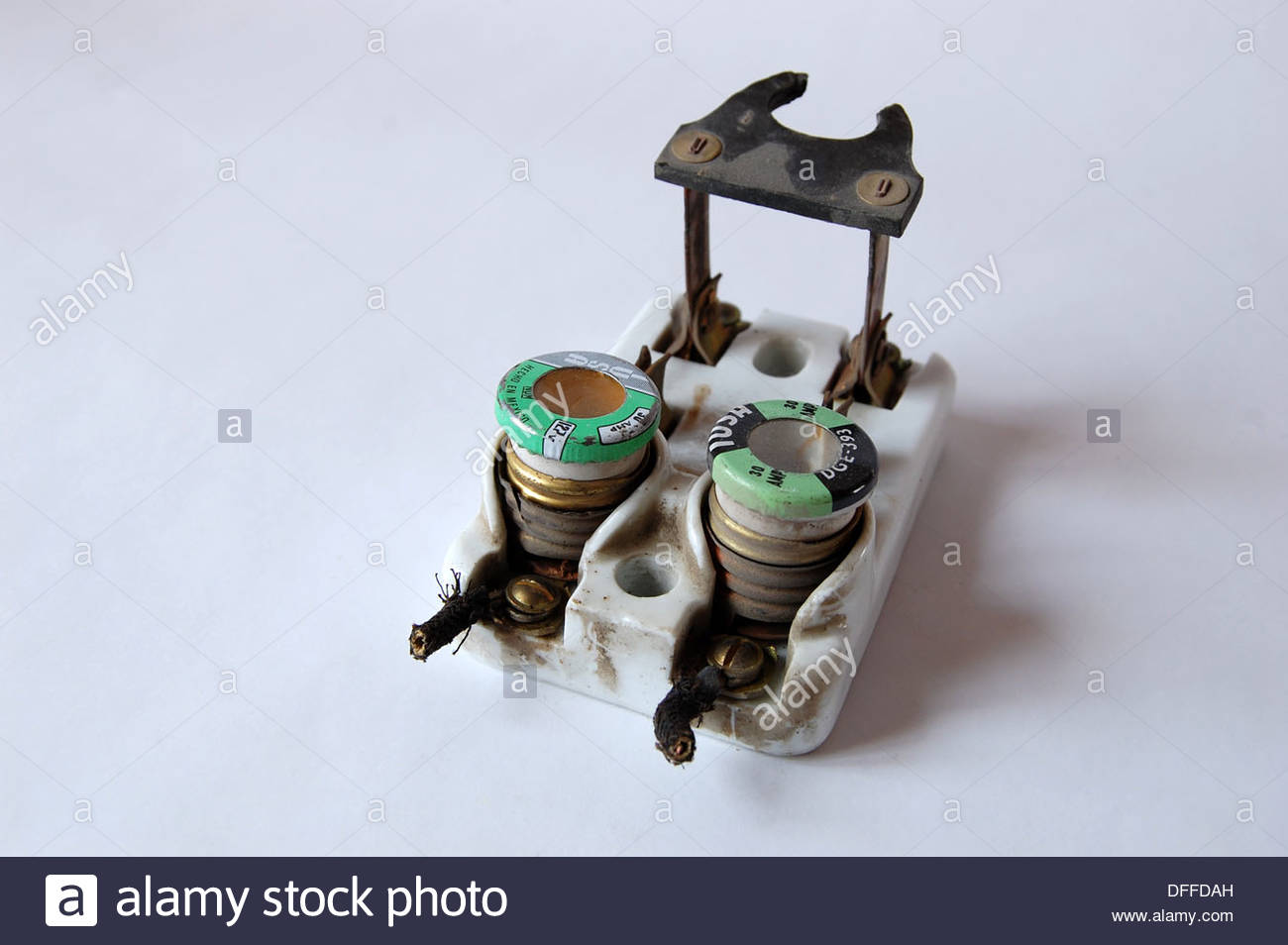 Old Fuses Fuse Box Stock Photos Images 1950s Vintage Ceramic Electrical Circuit Breaker With And Knife Switch Plain Background Natural