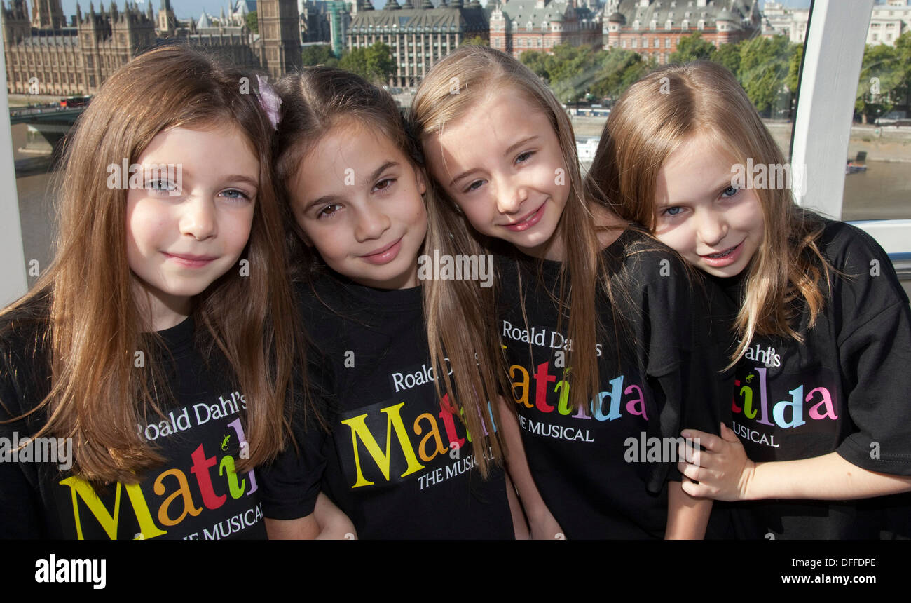 Young actresses playing the role of Matilda in the Roald Dahl musical in London. - Stock Image