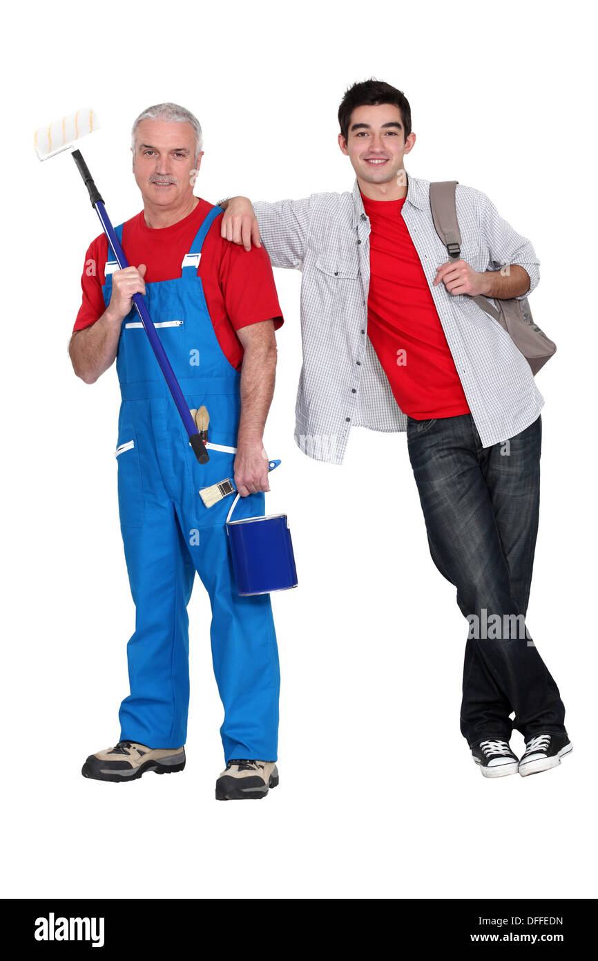 Experienced and apprentice painter - Stock Image