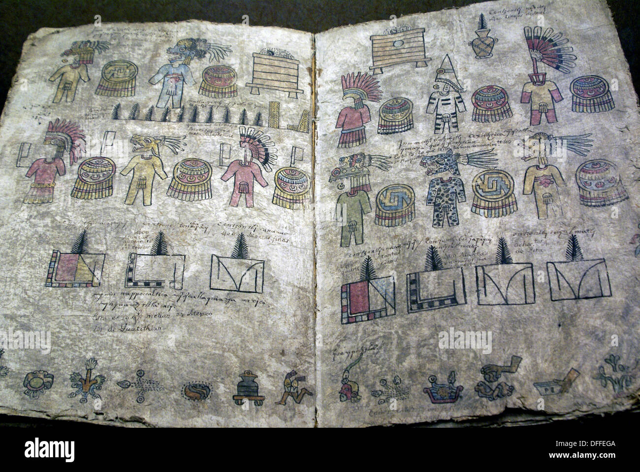Codex offered in a temple preserved in the National Museum of Anthropology, Mexico - Stock Image