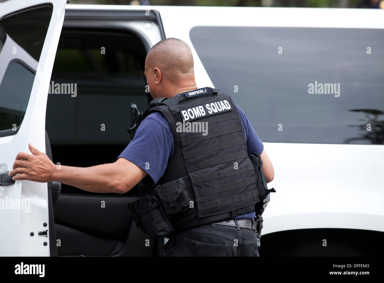 Bomb Squad technician with bullet proof vest Stock Photo