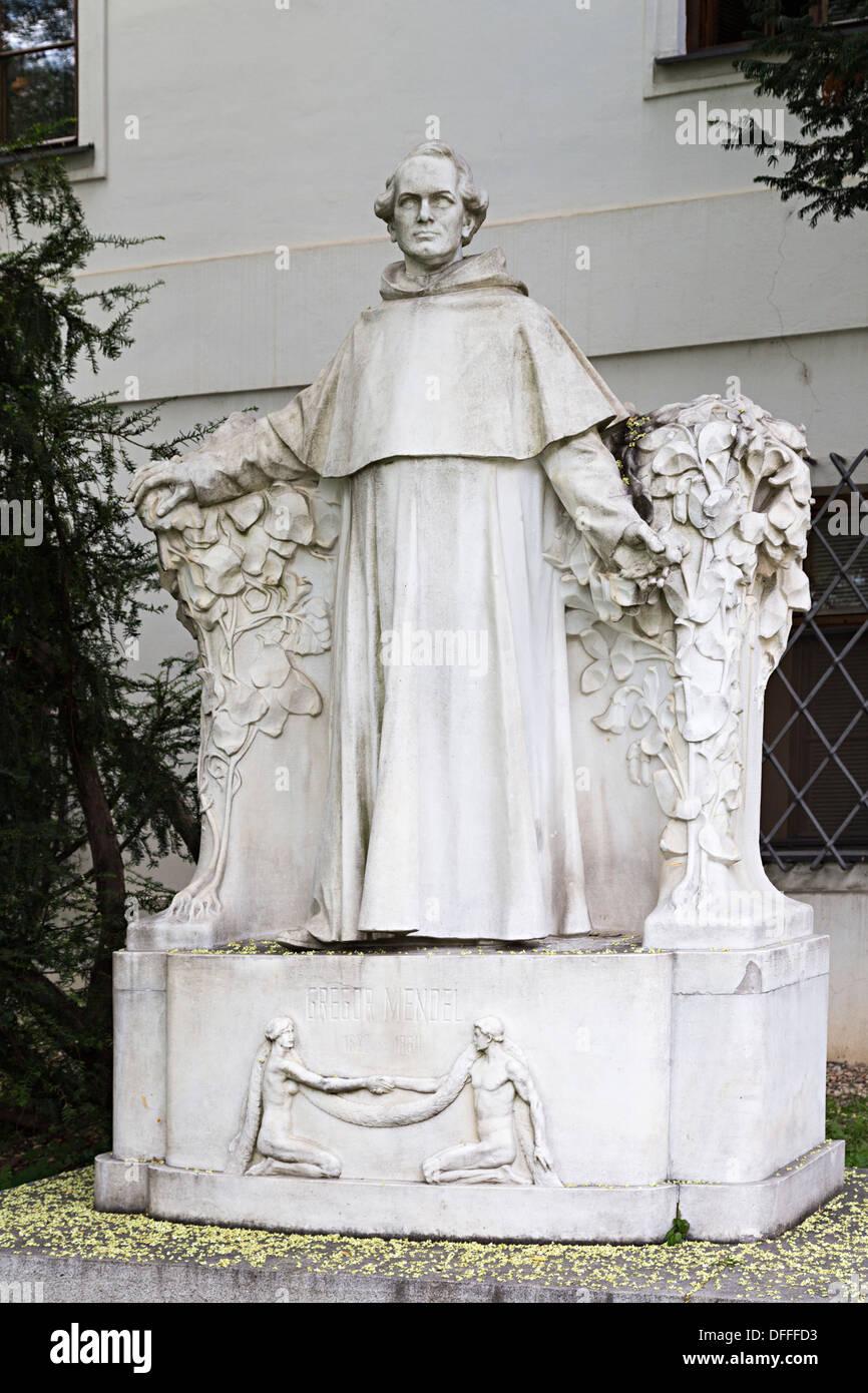 Statue of Gregor Mendel, Brno, Czech Republic - Stock Image