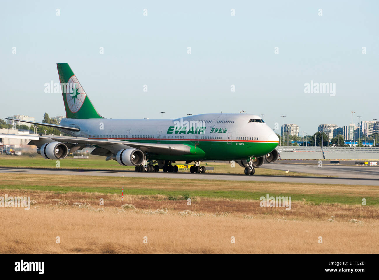 Eva Airlines Boeing 747 45E taxiing at Vancouver International Airport - Stock Image