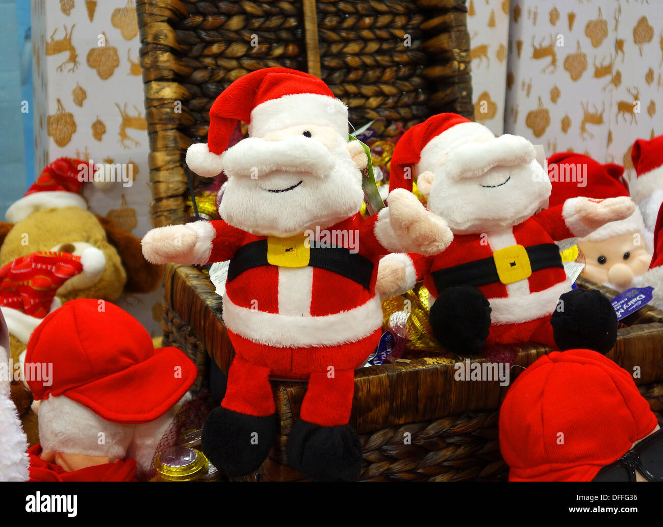 A display of christmas toys in a store Stock Photo