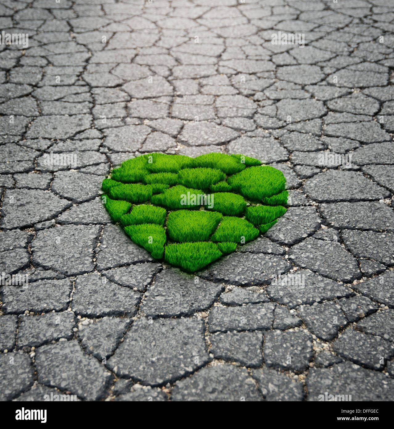 Heart Shape Grass Growing From The Asphalt - Stock Image