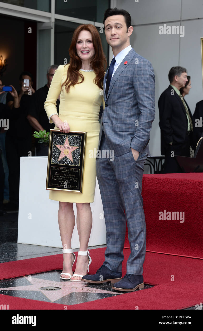 Hollywood Walk of Fame, Los Angeles, USA . 03rd Oct, 2013. Joseph Gordon Levitt & Julianne Moore who was honored with a star on the Hollywood Walk of Fame, Hollywood, USA. Oct 3rd 2013 Credit:  Sydney Alford/Alamy Live News - Stock Image