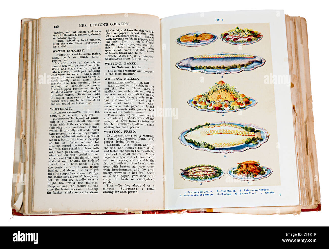 Mrs Beaton's Cookery Book 1923 edition showing open book and plates of prepared fish dishes - Stock Image