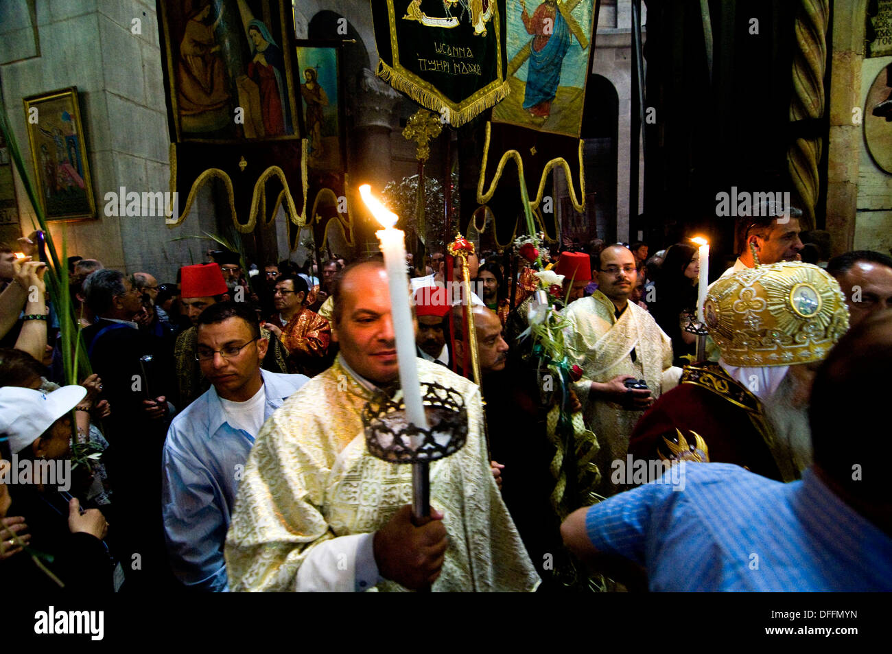 Palm Sunday ceremonies inside  the church of the holy sepulchre in Jerusalem. - Stock Image