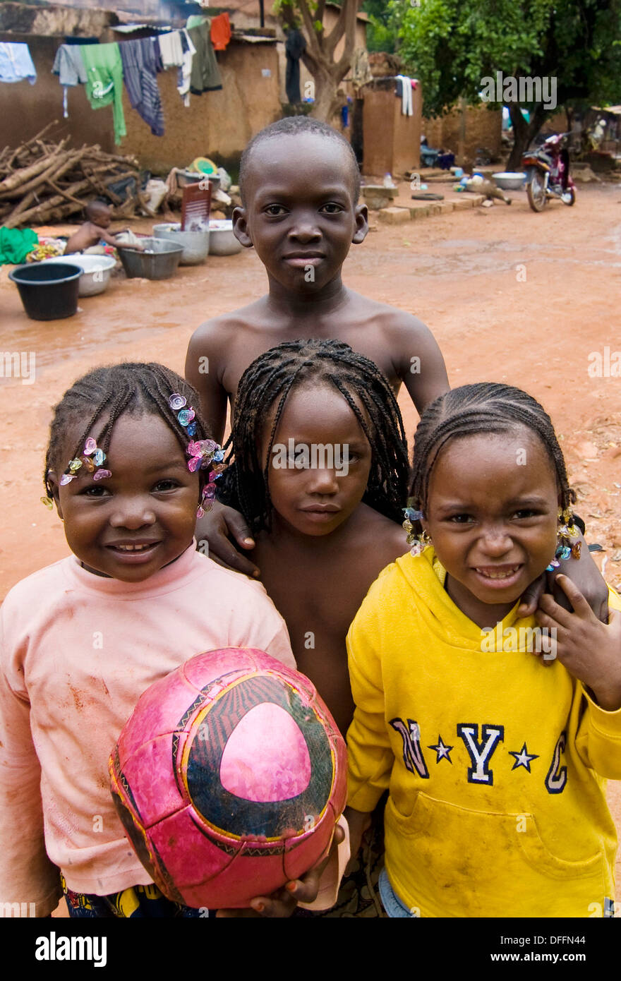 Cute Burkinabe children in Bobo Dioulasso, Burkina Faso. - Stock Image