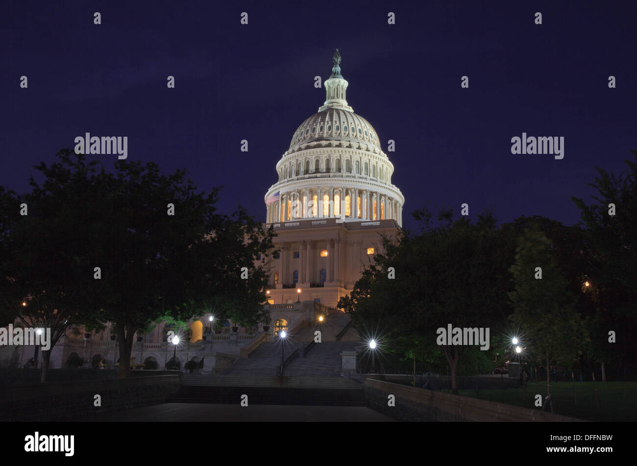The US Capitol at night. Stock Photo