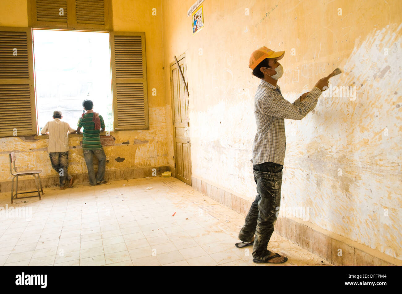 Renovating French building as Secondary school, Phnom Penh, Cambodia - Stock Image